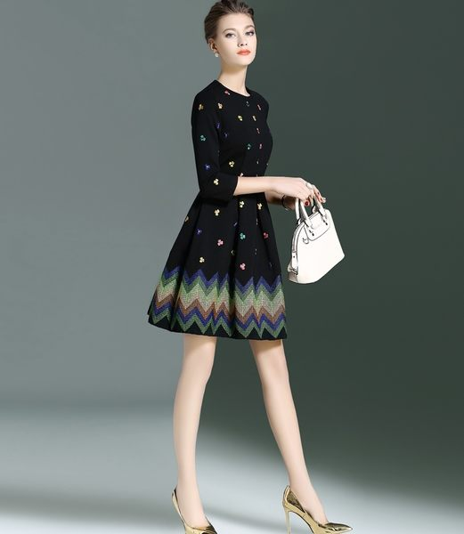 洋裝 繡花七分袖收腰A字裙連身裙 S-2XL #wf58471 ❤卡樂store❤