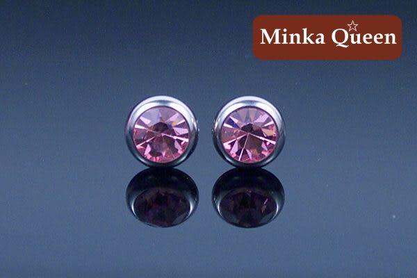 德國鈦鋼厚框包淺粉紅色精緻水鑽抗敏耳環(一對)(8 mm)