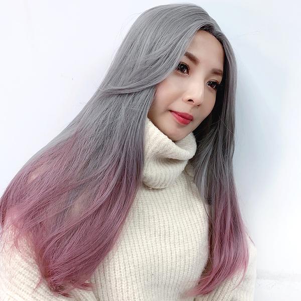 全頂假髮 奶奶灰漸層粉 長直髮 灰色 萬聖節假髮 魔髮樂 G8043
