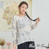 【Tiara Tiara】棉麻混紡輕透長短版花朵上衣(白/藍)