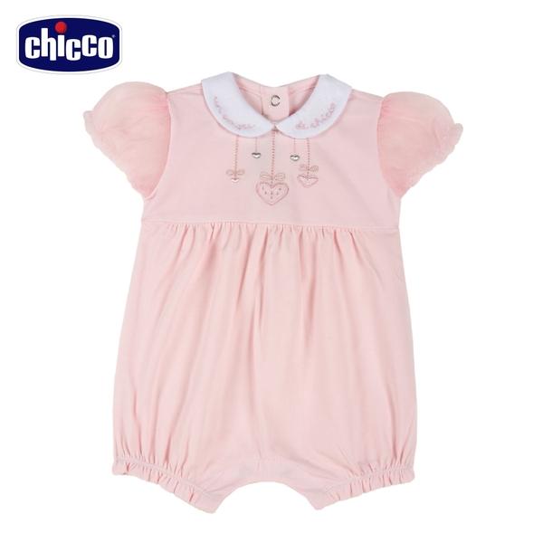 chicco-愛心小兔-有領泡泡短袖兔裝