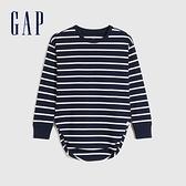 Gap女童 棉質舒適亮色圓領長袖T恤 661671-海軍藍條紋