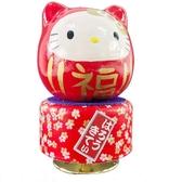 小禮堂 Hello Kitty 日製 達摩造型旋轉音樂鈴 復古音樂盒 旋轉音樂盒 (紅白) 4900955-13185