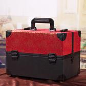 35cm肩帶化妝箱專業手提箱跟妝化妝包紋繡工具箱多層帶鎖首飾盒