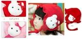 新年款荷葉邊綁帶紅色兔兔帽/護耳帽帽/耳朵帽