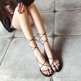 夏季交叉綁帶平底羅馬涼鞋子露趾女式夾腳簡約學生繫帶 概念3C旗艦店