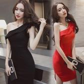 韓國女裝斜肩修身顯瘦包臀夜店性感洋裝夏季新款宴會小禮服