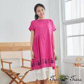 【Tiara Tiara】百貨同步 貓咪小花短袖背釦寬版洋裝(粉/黃/黑)