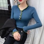 長袖針織上衣 修身小碼秋季韓版撞色拼接木耳邊洋氣長袖針織打底衫上衣女2319H310依佳衣