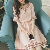 新品夏裝胖妹妹大尺碼女裝寬鬆民族風短袖v領雪紡洋裝(L-4XL)2色