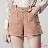 【SHOWCASE】俏麗短絨L造型口袋反短短褲(駝色)