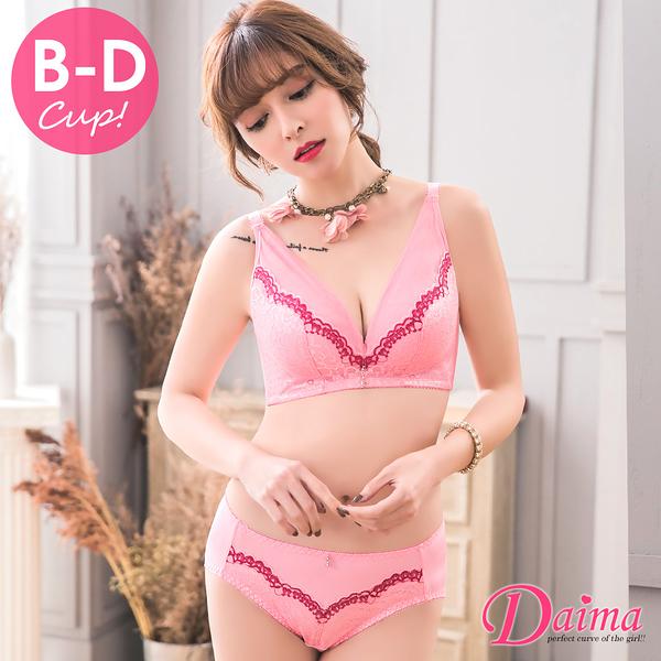 【Daima黛瑪】花綻撩波(B~D)無鋼圈集中托高蕾絲(內衣+內褲)-粉色