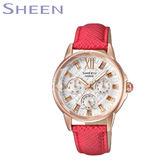 CASIO SHEEN 玫瑰金鑽石切割鏡面三眼紅色皮帶女錶 34mm SHE-3029PGL-7A 公司貨|名人鐘錶高雄門市