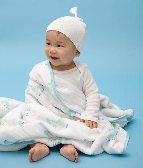 美國Angel Dear Muslin Napping 三層厚純棉細布嬰兒毛毯 男生長頸鹿