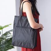 防水手提袋帆布女單肩簡約大容量袋子折疊便攜袋買菜包環保購物袋
