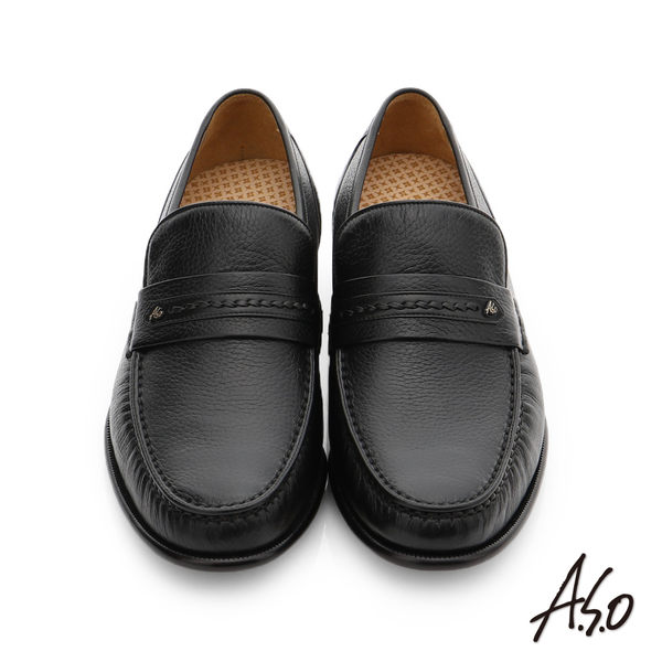 A.S.O 極致工藝 柔軟鹿皮手縫紳士鞋  黑