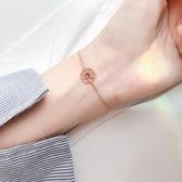 新品 s925銀鏤空太陽花圓圈手鍊簡約個性森系小眾設計感飾品女韓版閨蜜