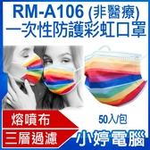 【3期零利率】現貨 RM-A106 一次性防護彩虹口罩 50入/包 3層過濾 熔噴布 高效隔離汙染 (非醫療)