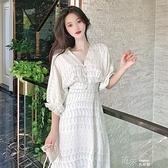 夏天洋裝2021新款白色五分袖減齡初戀裙中長款大碼女裝a字裙子 道禾