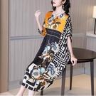 大牌杭州真絲洋裝/連衣裙2021夏季新款印花拼接高檔闊太太桑蠶絲中長裙 快速出貨