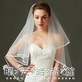 新款空氣感超蓬頭紗香檳色白色短款新娘婚紗頭紗雙層有髮梳可遮面 晴天時尚館