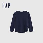 Gap男幼童 簡約風格純色圓領長袖T恤 617771-海軍藍