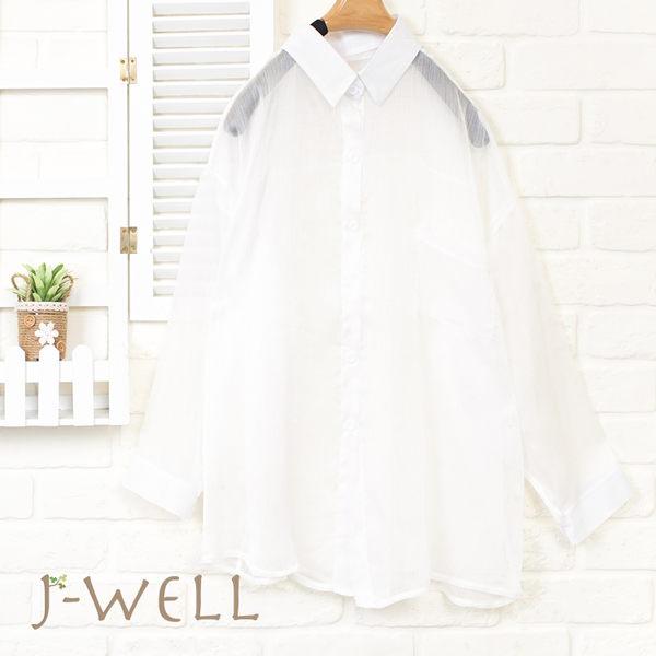 J-WELL 雪紡輕盈感短襯衫(3色) 8J1491