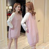 韓版時尚秋季新品拼接衛衣洋裝寬鬆休閒大碼孕婦裝 莫妮卡小屋