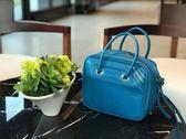■現貨在台■專櫃64折■ Balenciaga 全新真品 466541 小款BLANKET毯型復古小牛皮兩用包 藍色