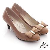 A.S.O 玩美彈麗 真皮拼鏡面雙色蝴蝶結飾跟鞋-卡其