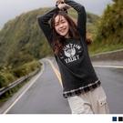 《AB14165-》台灣製造。英字印花格紋拼接假兩件長袖上衣 OB嚴選