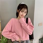 網紅短款衛衣女百搭長袖無帽2021年秋季潮酷高腰設計感小個子上衣 韓國時尚週
