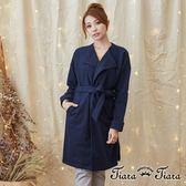 【Tiara Tiara】激安 素面長袖綁帶罩衫外套(深藍)