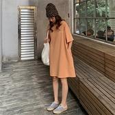 洋裝 2021年夏季新款口袋懶人洋裝中長款T恤女短袖過膝長裙寬鬆開叉