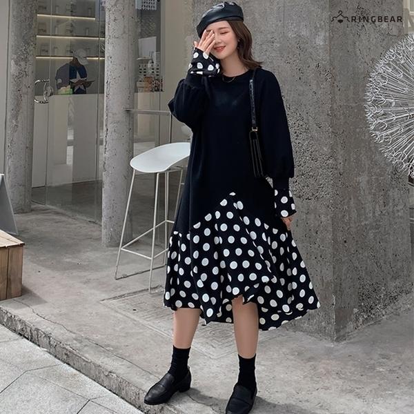 連身裙--休閒活潑修身顯瘦圓點拼接不規則下擺喇叭袖圓領長袖洋裝(黑L-2L)-A395眼圈熊中大尺碼◎