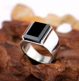 全館83折 歐美復古霸氣黑曜石戒指男士鈦鋼不褪色時尚指環戒子刻字禮物