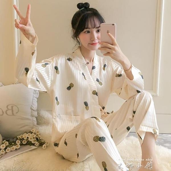 倩升春秋冬季睡衣女冰絲性感日式和服韓版寬鬆薄款家居服夏可出門