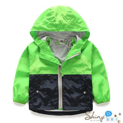 【R4288】shiny藍格子-嬰幼館.春裝新款男童拼色連帽長袖防曬外套