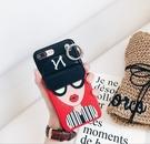 88柑仔店~韓國眼睛女神零錢包iPhoneX手機殼蘋果8皮質帶鎖扣tpu手機保護套