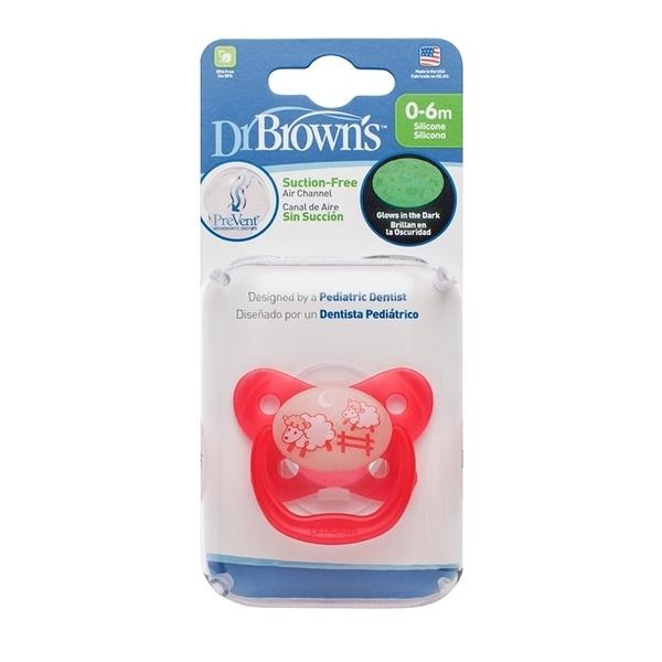 美國Dr Brown 布朗博士PreVent功能性夜光安撫奶嘴 粉2入0~6個月(附收納盒)