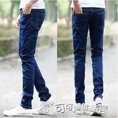 牛仔長褲 夏季男士青年牛仔褲簡約純色修身款彈力休閒長褲子顯瘦鉛 Cocoa