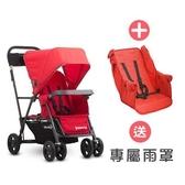 【贈雨罩】Joovy - Caboose Ultralight Graphite 新款輕量級雙人推車 - 紅+第二座椅