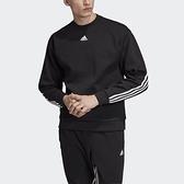 ADIDAS 大學T M MH 3S CREW 黑 長袖 衛衣 半高領 三線 男 (布魯克林) DX7654