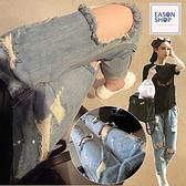 EASON SHOP(GW2518)小漆點淺藍色刷破牛仔褲 破洞 毛邊 抽鬚 收腰 高腰 長褲 直筒褲 水洗丹寧 磨白
