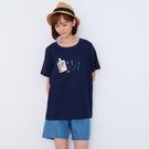【慢。生活】廚具刺繡拼接休閒T恤 1810  FREE 深藍色