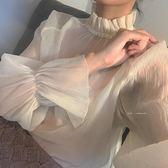 全館免運八折促銷-蕾絲打底衫女長袖春秋內搭超仙氣質上衣花邊領仙仙女喇叭袖雪紡衫