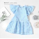 藍白格紋棉麻鄉村風荷葉袖小洋裝 日系 清新 甜美 女童洋裝 上衣 夏天 短袖 女童裝 哎北比童裝