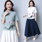 短袖T恤 改良女裝棉麻唐裝禪服中式手繪古裝茶服T恤上衣