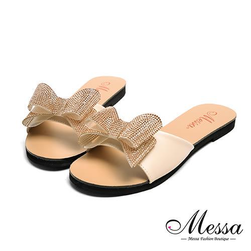 【Messa米莎專櫃女鞋】MIT閃亮蝴蝶一字寬帶平底拖鞋-粉色
