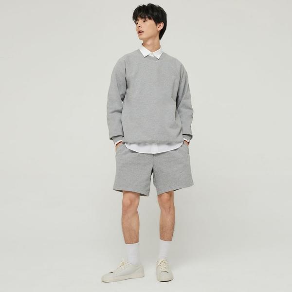 Gap男裝 碳素軟磨系列 法式圈織舒適圓領休閒上衣 837452-淺灰色